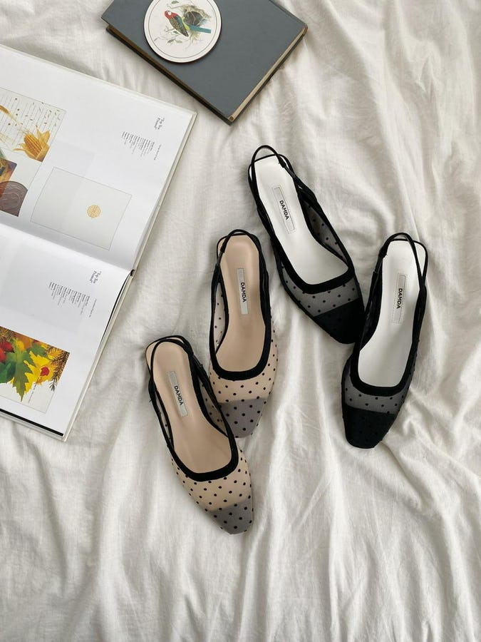sheer dot  flat shoes-0
