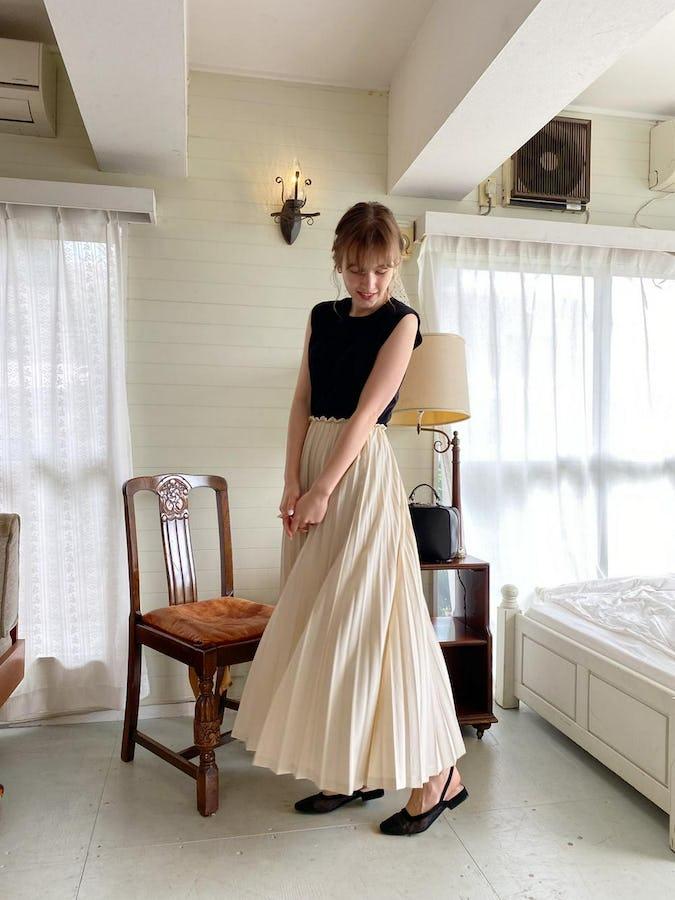 volume pleats skirt-0