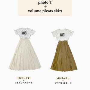 printT × pleats skirt