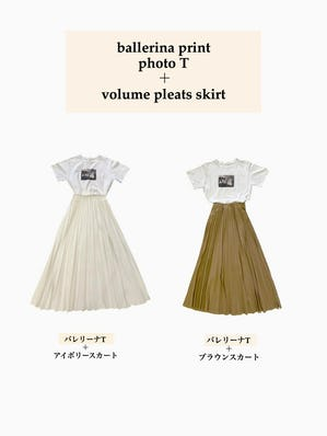 printT × pleats skirt