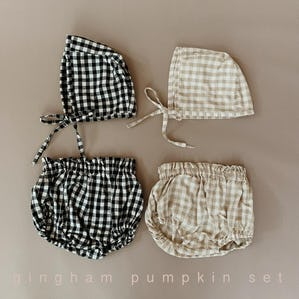 gingham pumpkin set