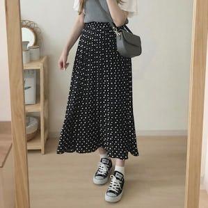 【 8/7 20:00 発売 】ヴィンテージドットプリーツスカート
