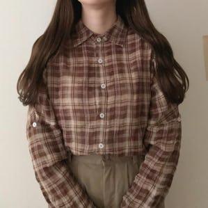 ブラウンカラーチェックシャツ