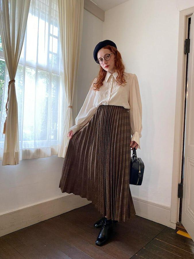 check volume pleats skirt