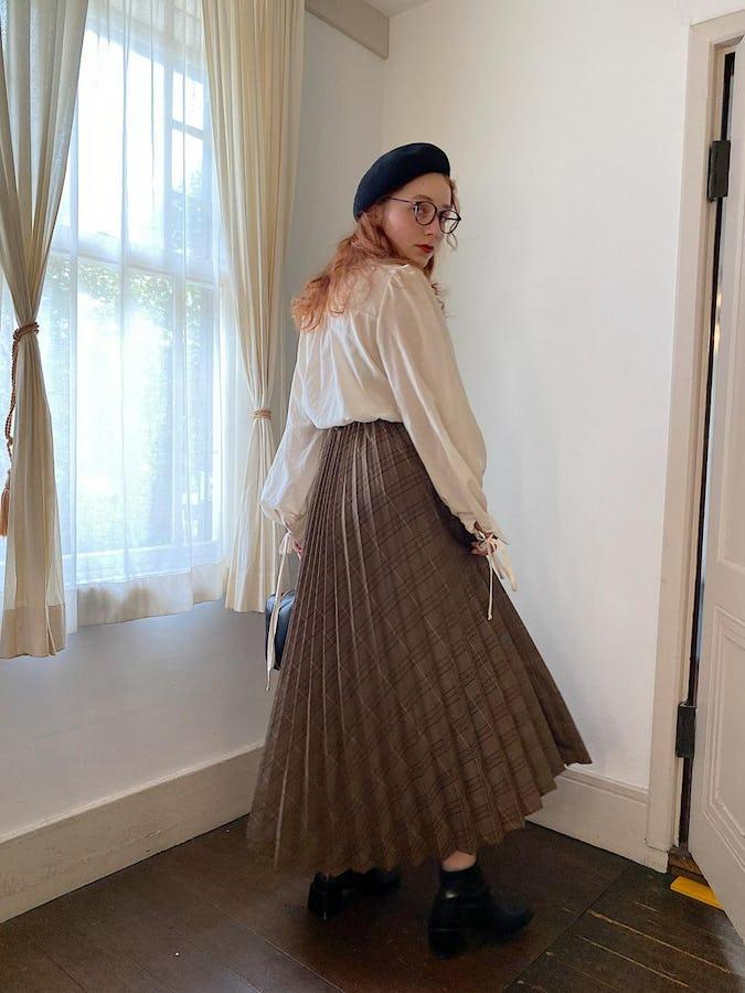 check volume pleats skirt-0