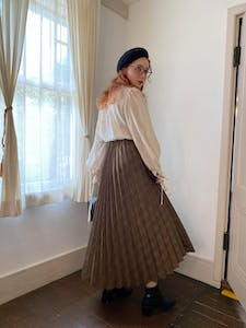 check volume pleats skirt