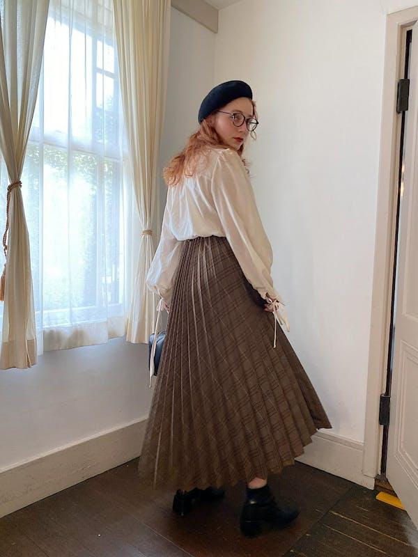 check volume pleats skirtの画像1枚目