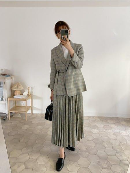 check volume pleats skirtの画像20枚目