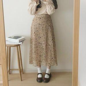 レトロガーリーフラワースカート