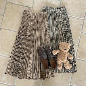 ギンガムチェックプリーツスカート