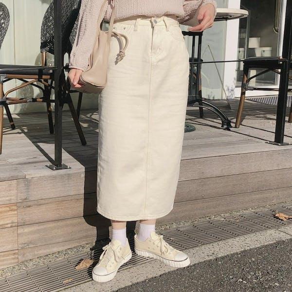 クリームデニムスカートの画像1枚目