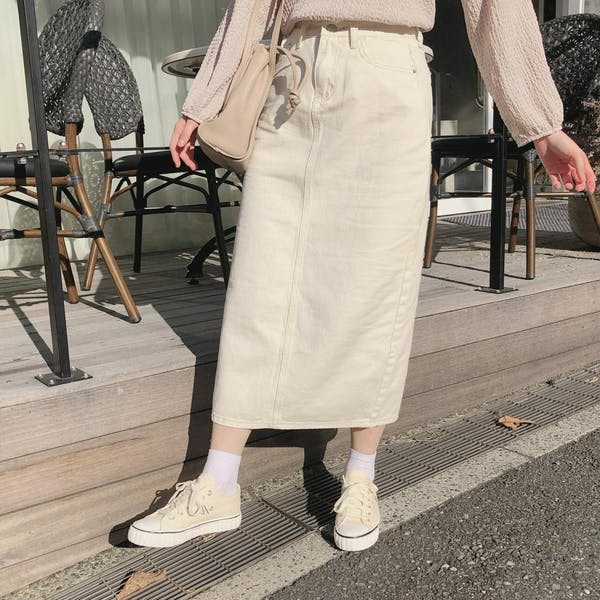 クリームデニムスカートの画像2枚目