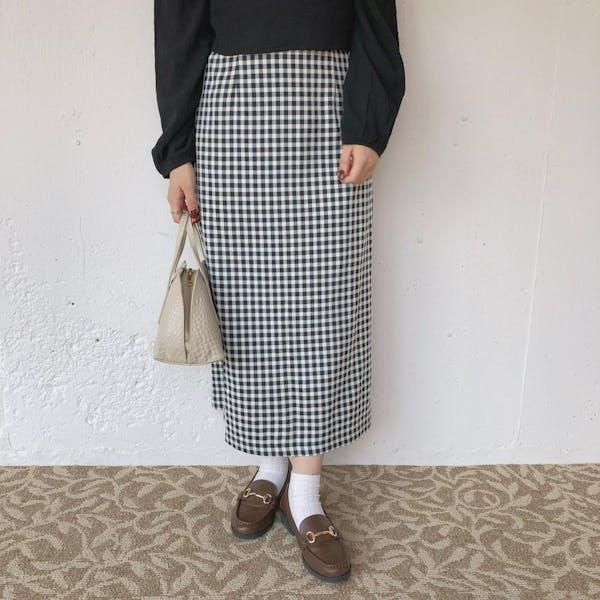 ブラックチェックタイトスカートの画像1枚目