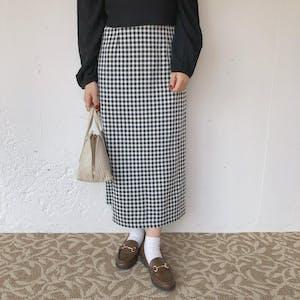 ブラックチェックタイトスカート