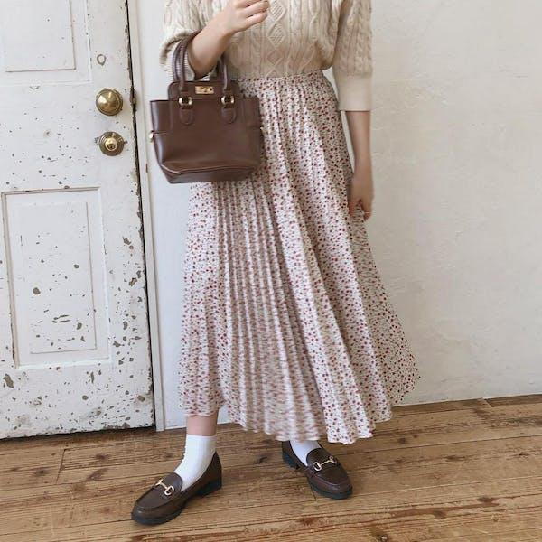 レトロ花柄プリーツスカートの画像2枚目
