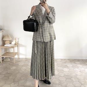 〈再販〉check volume pleats skirt