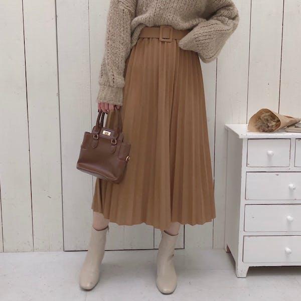 ベルト付きプリーツスカートの画像1枚目