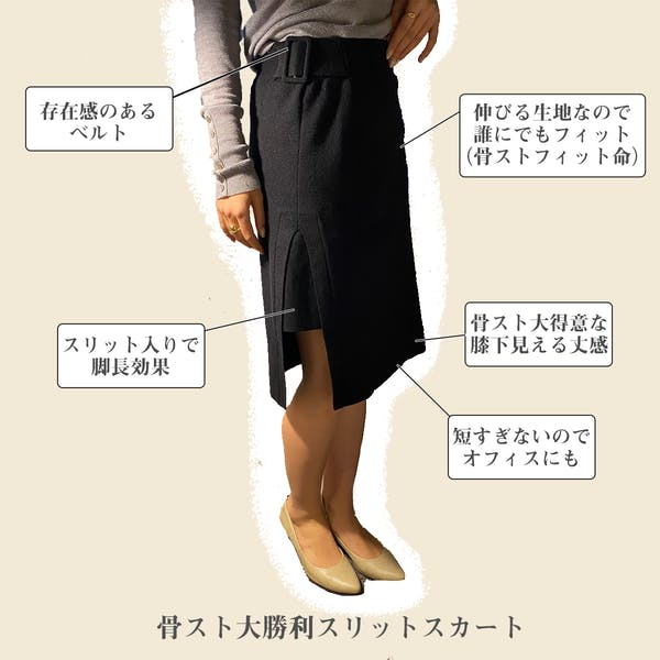 【ストレート】骨スト美脚スリットスカートの画像2枚目