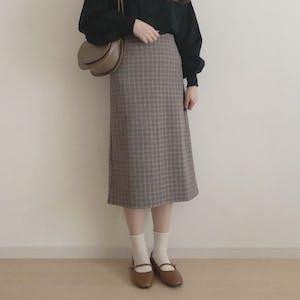 ウールチェックロングスカート