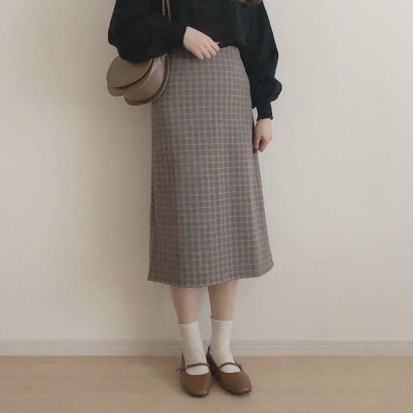 ウールチェックロングスカートの画像1枚目