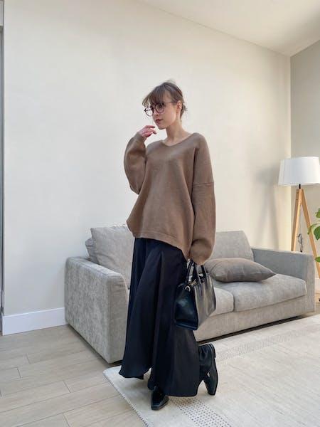 spring knit & satin slit skirt setの画像39枚目