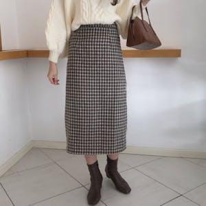 ココアチェックタイトスカート