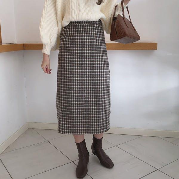 ココアチェックタイトスカートの画像1枚目