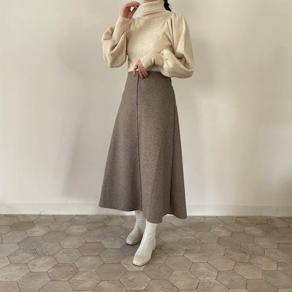 パイピングウールスカートの画像2枚目