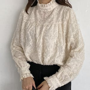 high neck flower blouse