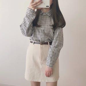 ペールトーンチェックシャツ