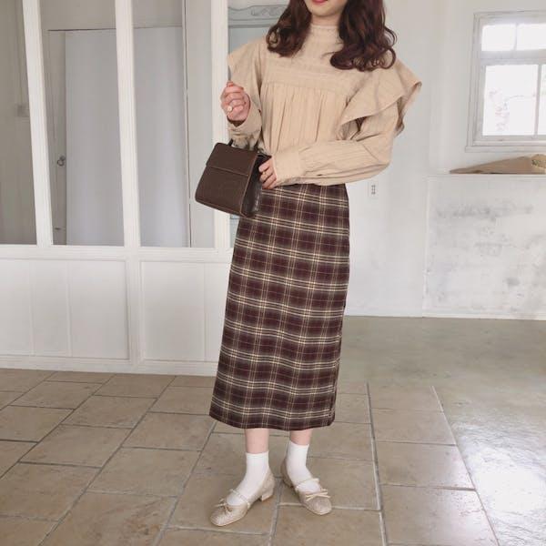 ブラウンチェックタイトスカートの画像2枚目