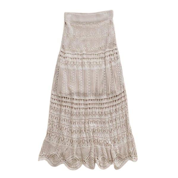透かし編みニットスカートの画像1枚目
