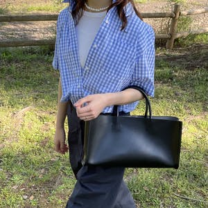 fake leather oblong bag