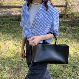 fake leather oblong bag