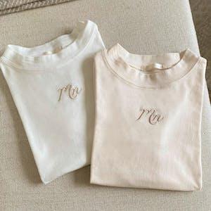 mellow's ハイネック刺繍Tシャツ