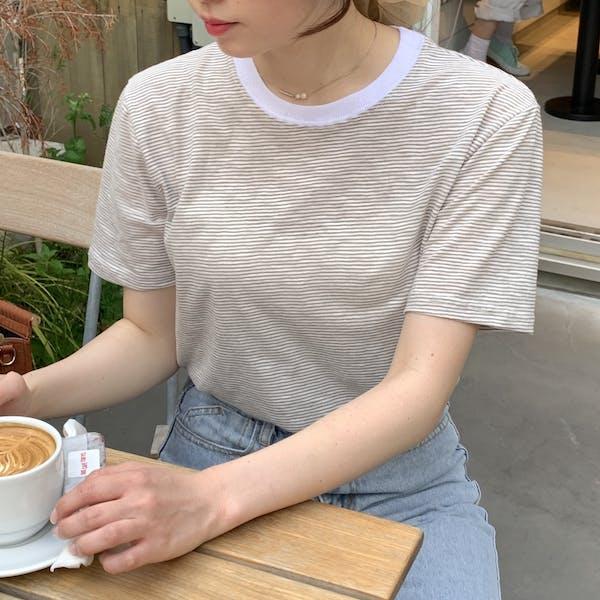 クルーネックボーダーTシャツの画像1枚目