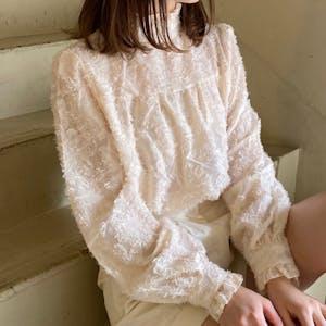 high neck flower blouse