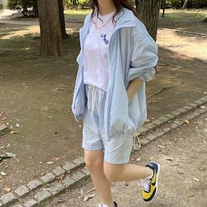 nylon blouson & shorts set