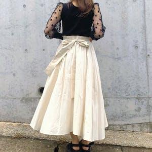 back ribbon flare skirt
