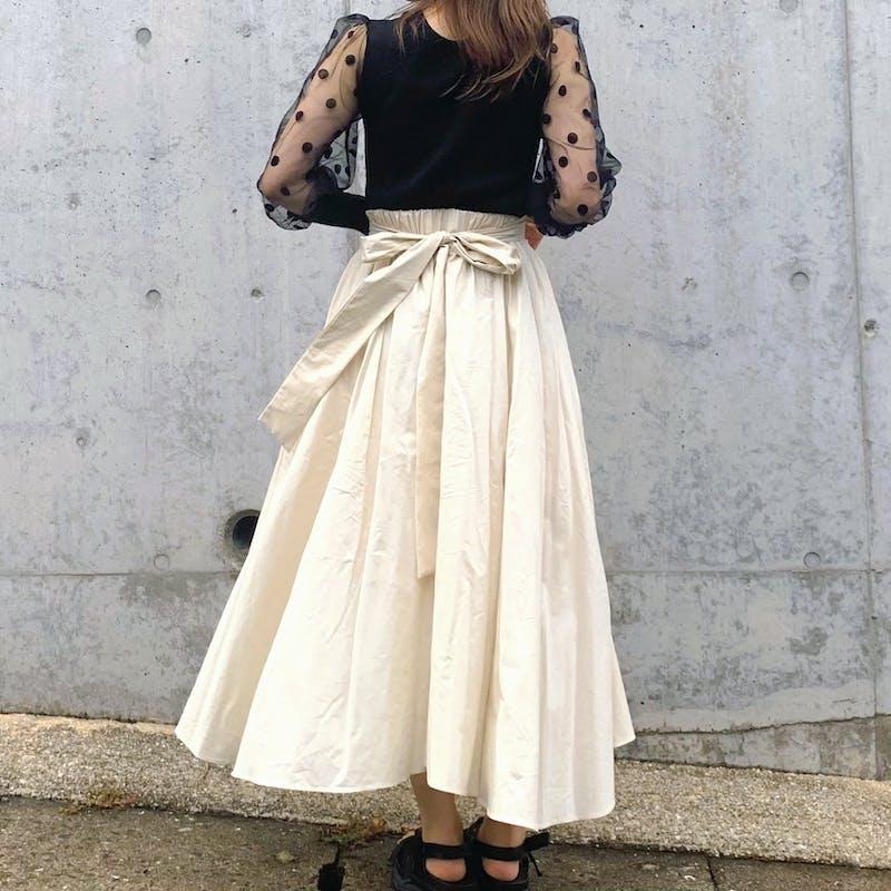 back ribbon flare skirtの画像1枚目