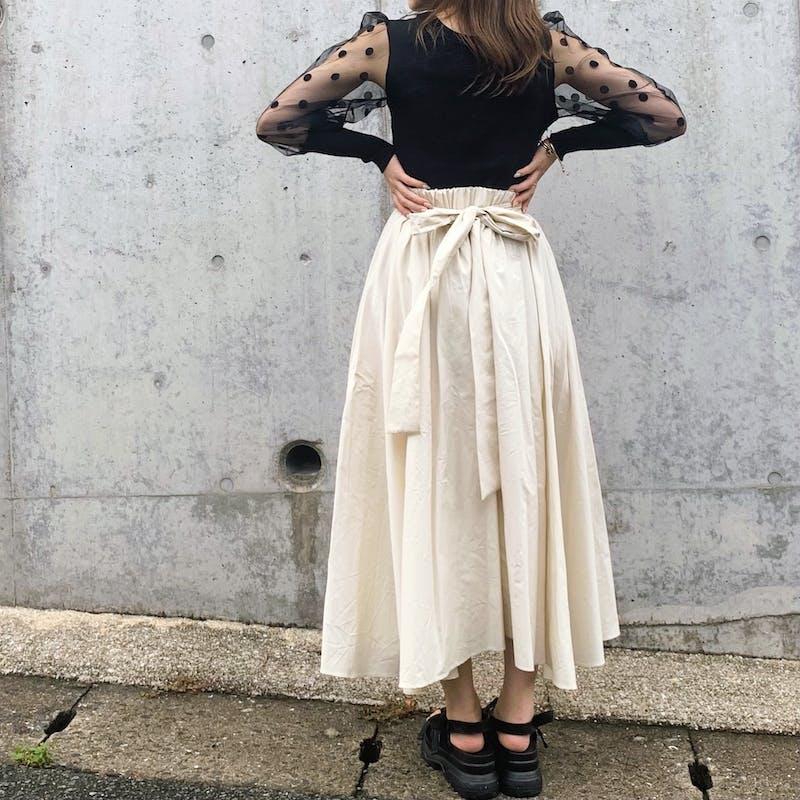 back ribbon flare skirtの画像2枚目