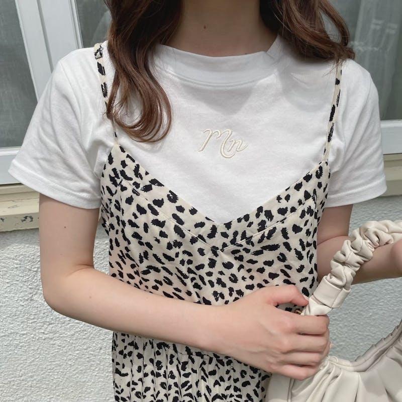 Tシャツ(WHITE)×レオパードプリーツキャミワンピSETの画像2枚目