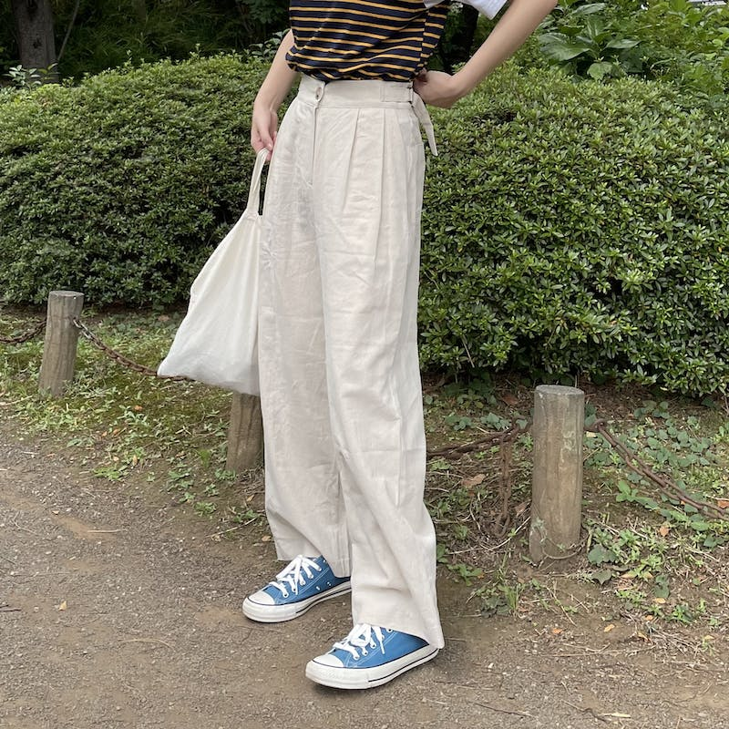 belted linen pantsの画像1枚目