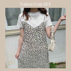 Tシャツ(WHITE)×レオパードプリーツキャミワンピSET