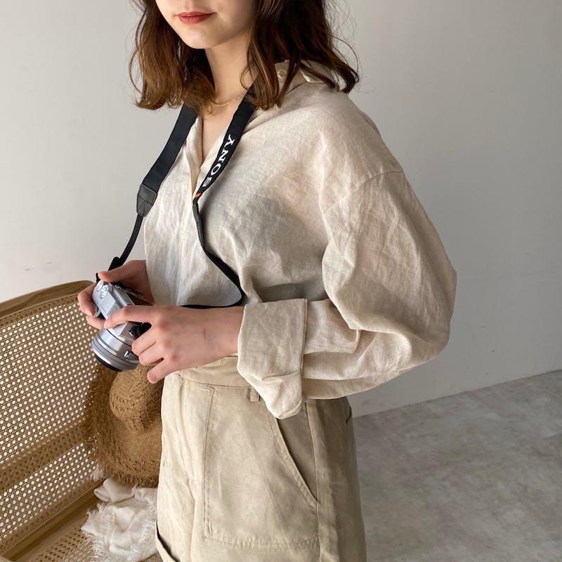 natural beige linen shirtの画像1枚目