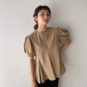 peplum puff blouse