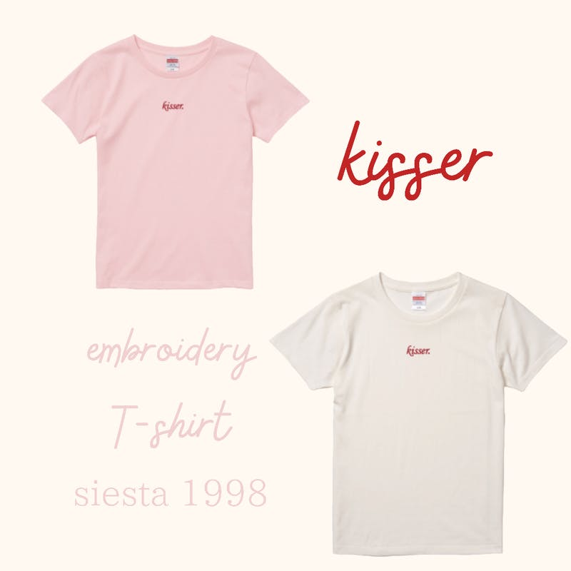 kisser 刺繍T-shirt  vanilla&pinkの画像8枚目