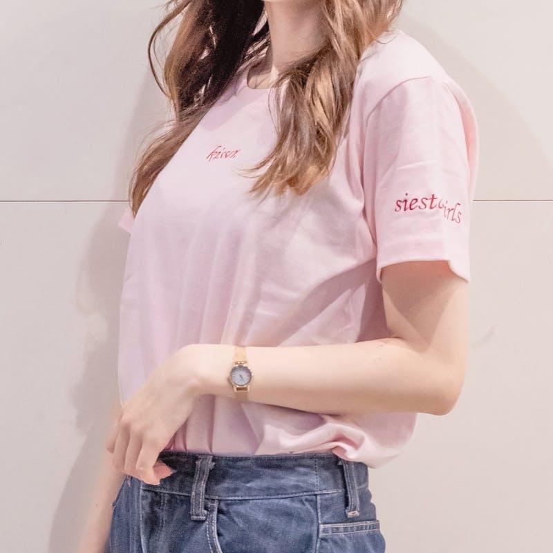 kisser 刺繍T-shirt  vanilla&pinkの画像2枚目