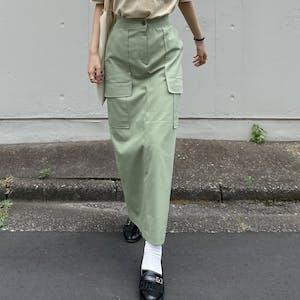 high-waist cargo skirt