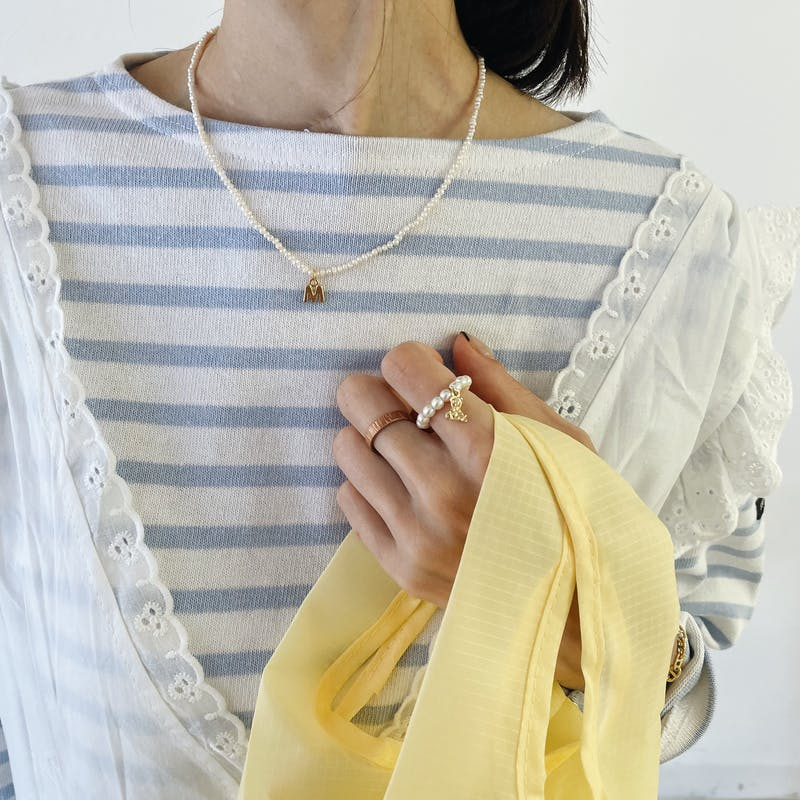 pearl initial motif necklaceの画像9枚目